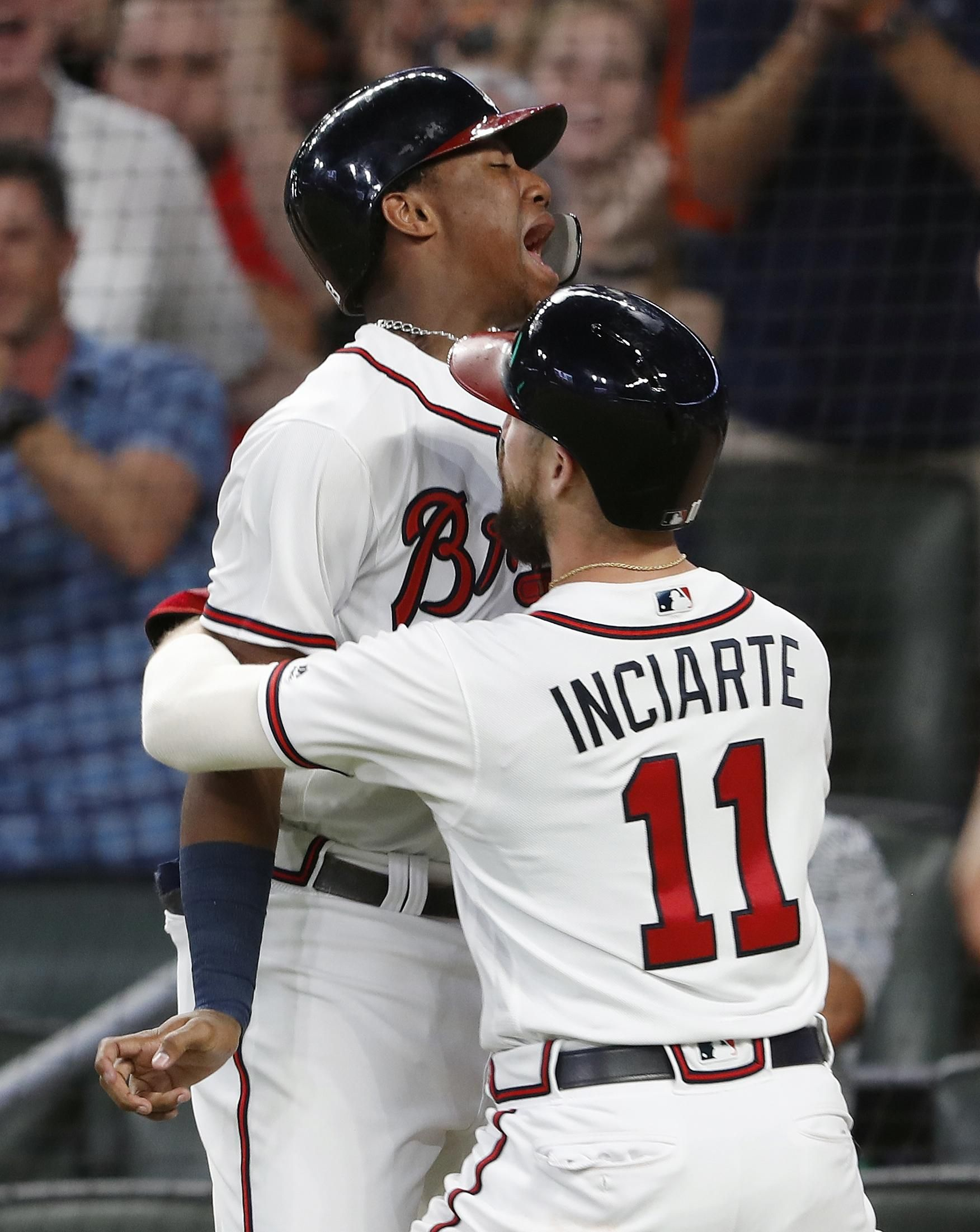 Atlanta Braves Ronald Acuna Jr Left And Ender Inciarte 11 Celebrate After Scoring On A Single By Johan Cama Atlanta Braves Baseball Atlanta Braves Braves