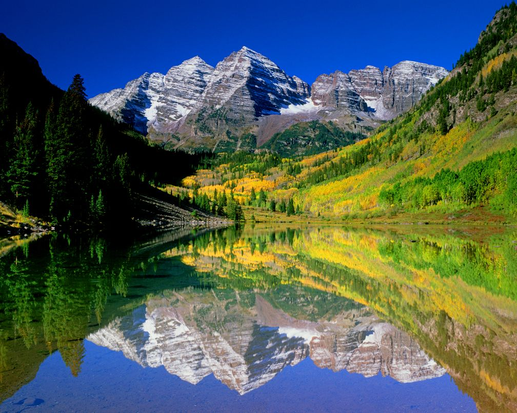 Maroon lake near aspen is perfectly positioned to reflect for Fishing spots in colorado springs