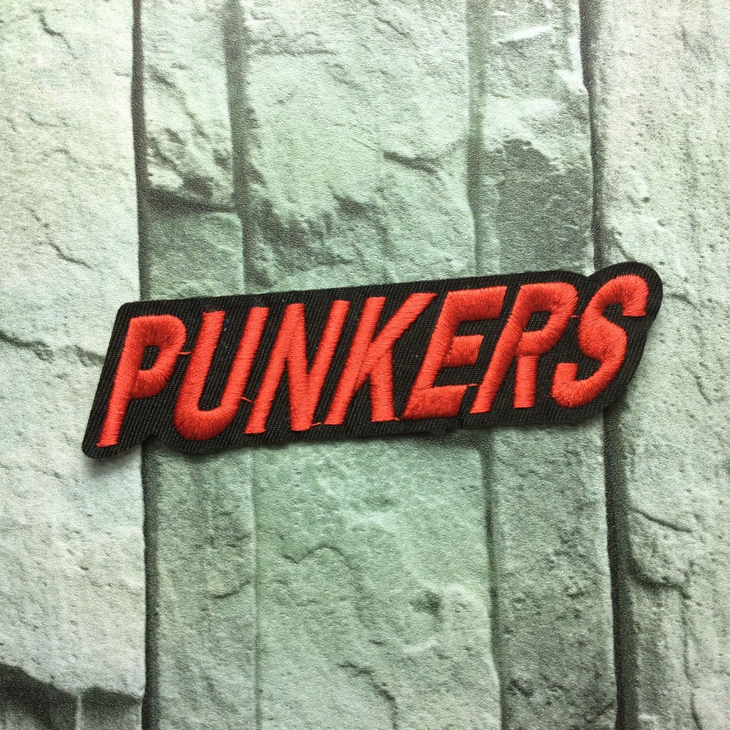 punkers patch Embroidery Applique patch Embroidered patches iron on  monogram iron on letters iron on patch sew on patch 12.7*3.4cm (A95)