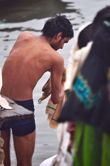 Varanasi Ghats: Bathing Desi Indian Men In Langots And