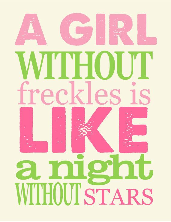 SummerSale Nursery Print A Girl without Freckles by TheEducatedOwl, $12.60