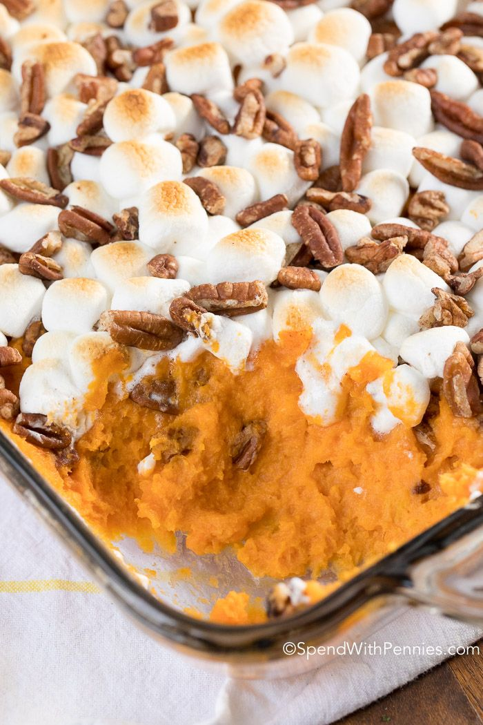 Sweet Potato Casserole {with Marshmallows} - Spend