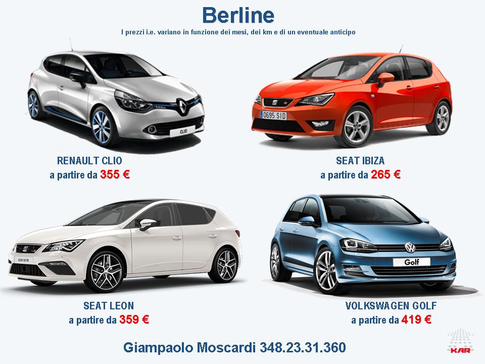 Noleggio Lungo Termine Berline Renault Clio Seat Ibiza Seat Leon Vw