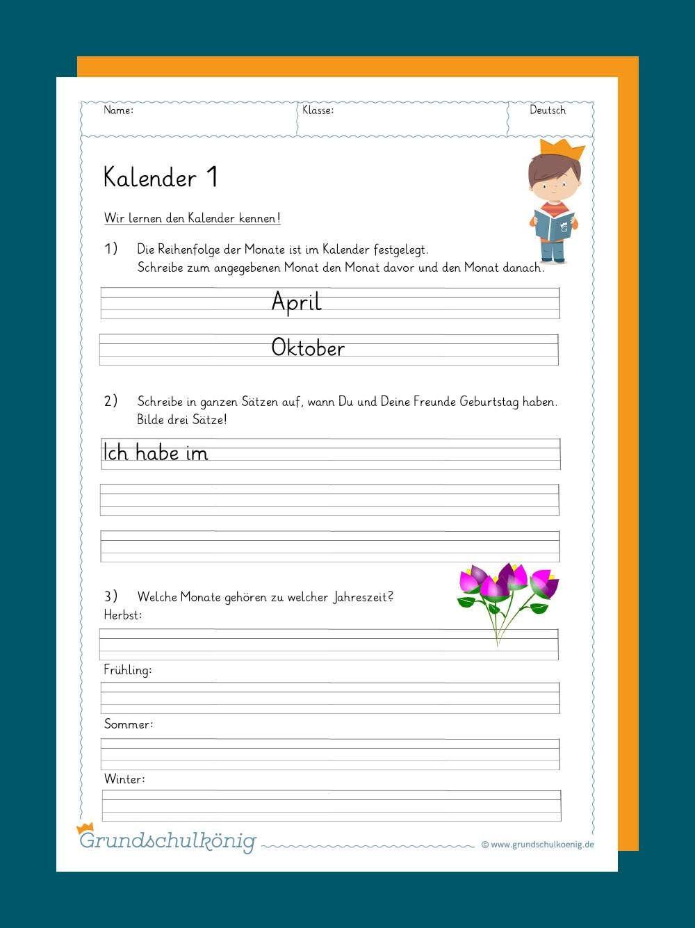 Kalender   Lernen tipps schule, Grundschulkönig, Grundschule