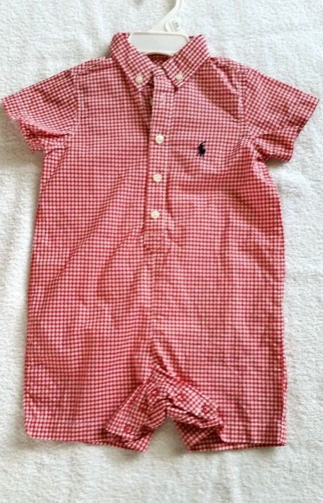 565241444e64 Polo Ralph Lauren Red Gingham White Check Baby Boy Onesie Romper 12 Months   RalphLauren  EverydayHoliday