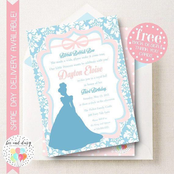 Cinderella Invitation GirlsBirthday BirthdayParty BeeAndDaisy Invite Etsy