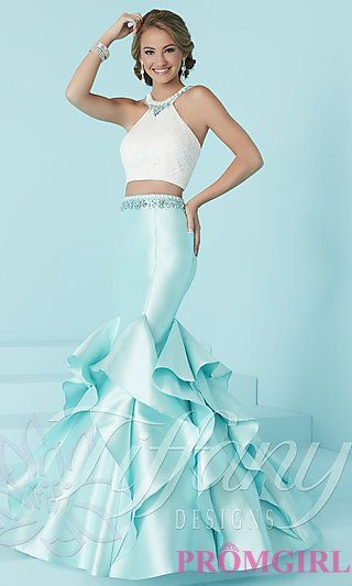 7d009a91fec42 Two-Piece Prom Dress with Ruffled Mermaid Skirt in 2019 | Amelia ...