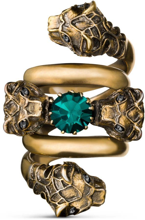 543a23888 Double wrap ring with tiger heads   TURQUOISE ✨ TEAL   Rings ...