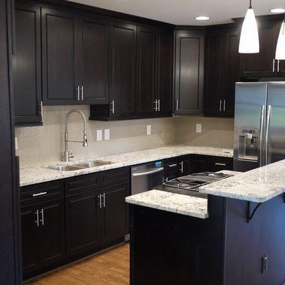 Dark Cabinets Light Countertops Kitchen Redesign Kitchen Design Modern Small Kitchen Design Small Stained Kitchen Cabinets