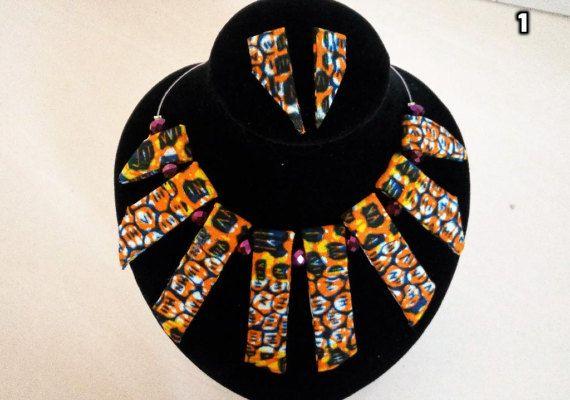 Gratuite expédition réversible collier en tissu africain