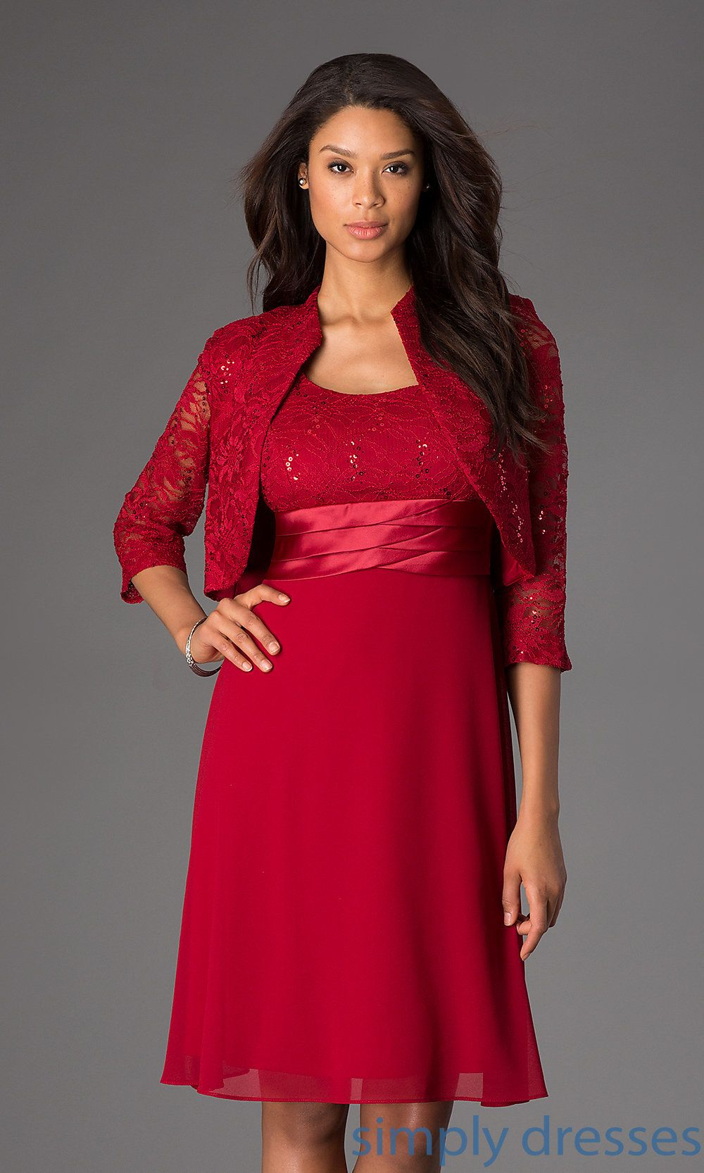 Lace Embellished Semi Formal Dresses With Jacket Simply