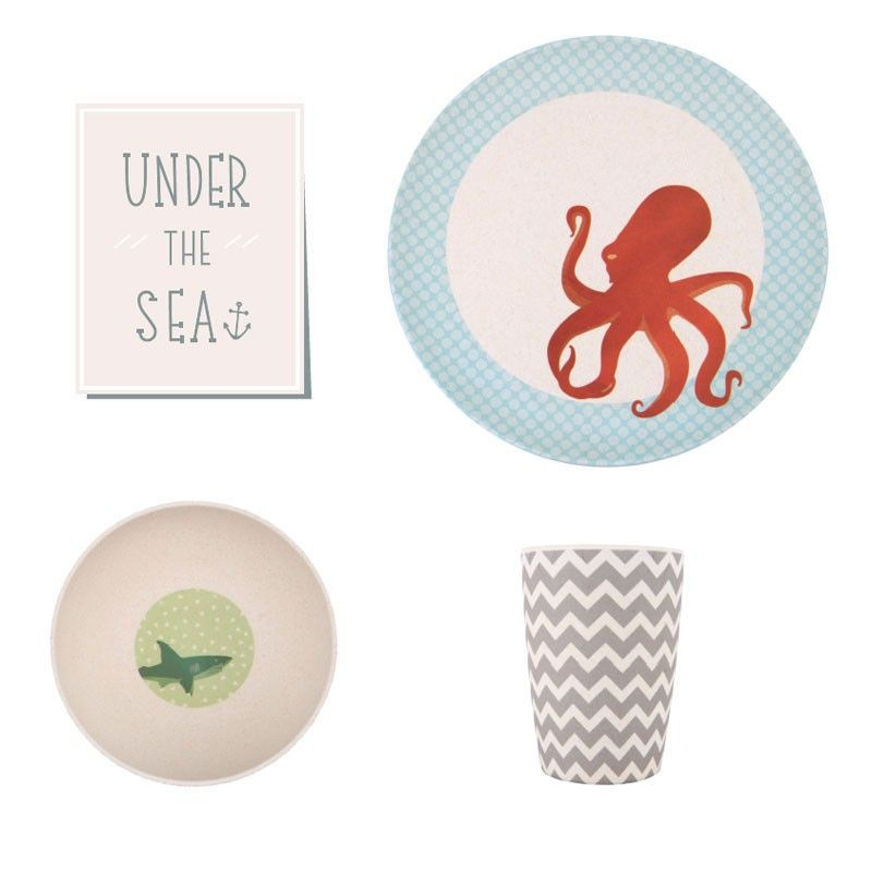 Under The Sea Bamboo Dinnerset Http Lovemae Com Au Magento Bamboo Dinnerware Bamboo Dinner Set Under The Sea Html Kids Dinnerware Kids Plates Dinner Sets