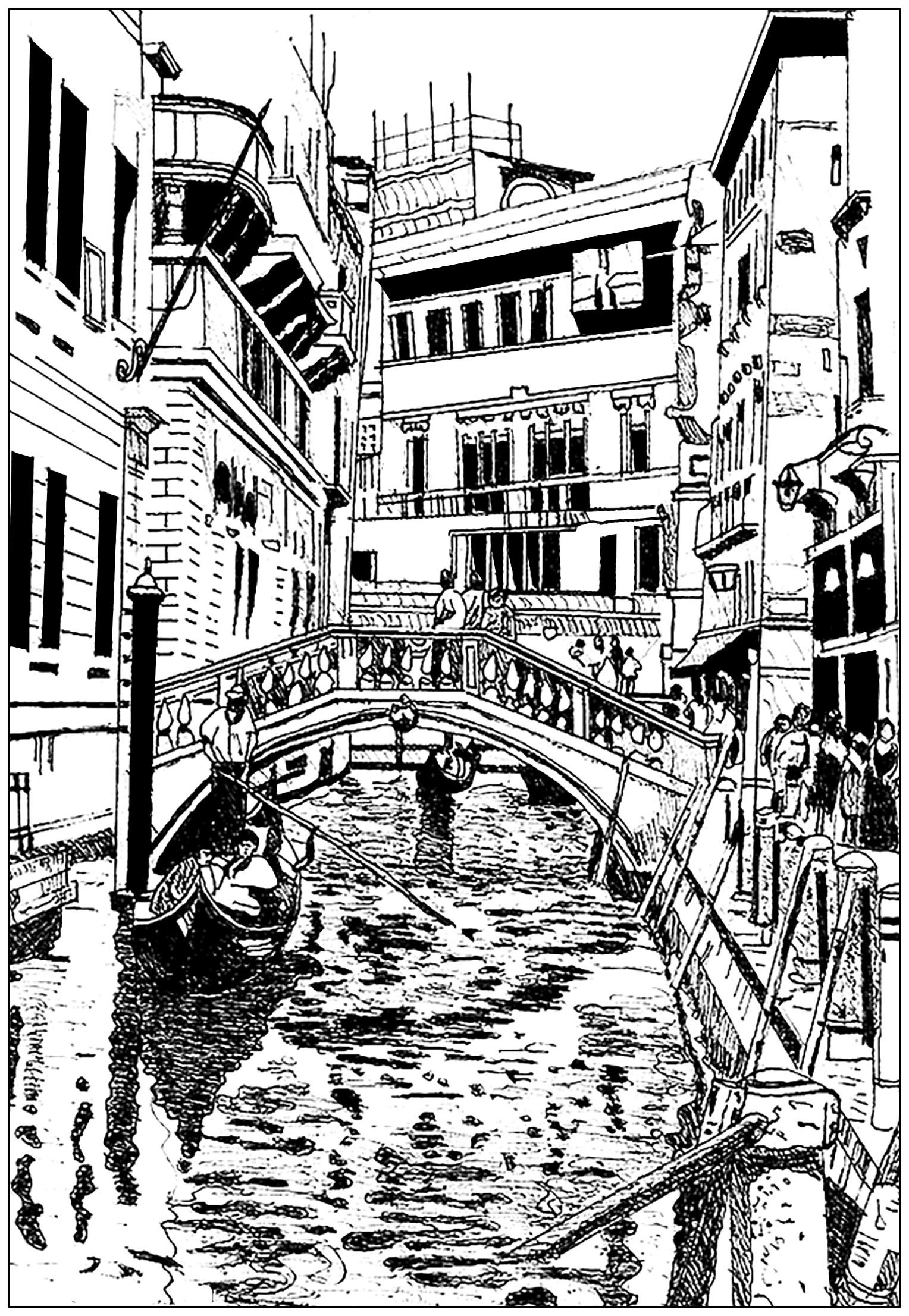 Venice Drawing Architecture And Living Coloring Pages For Adults