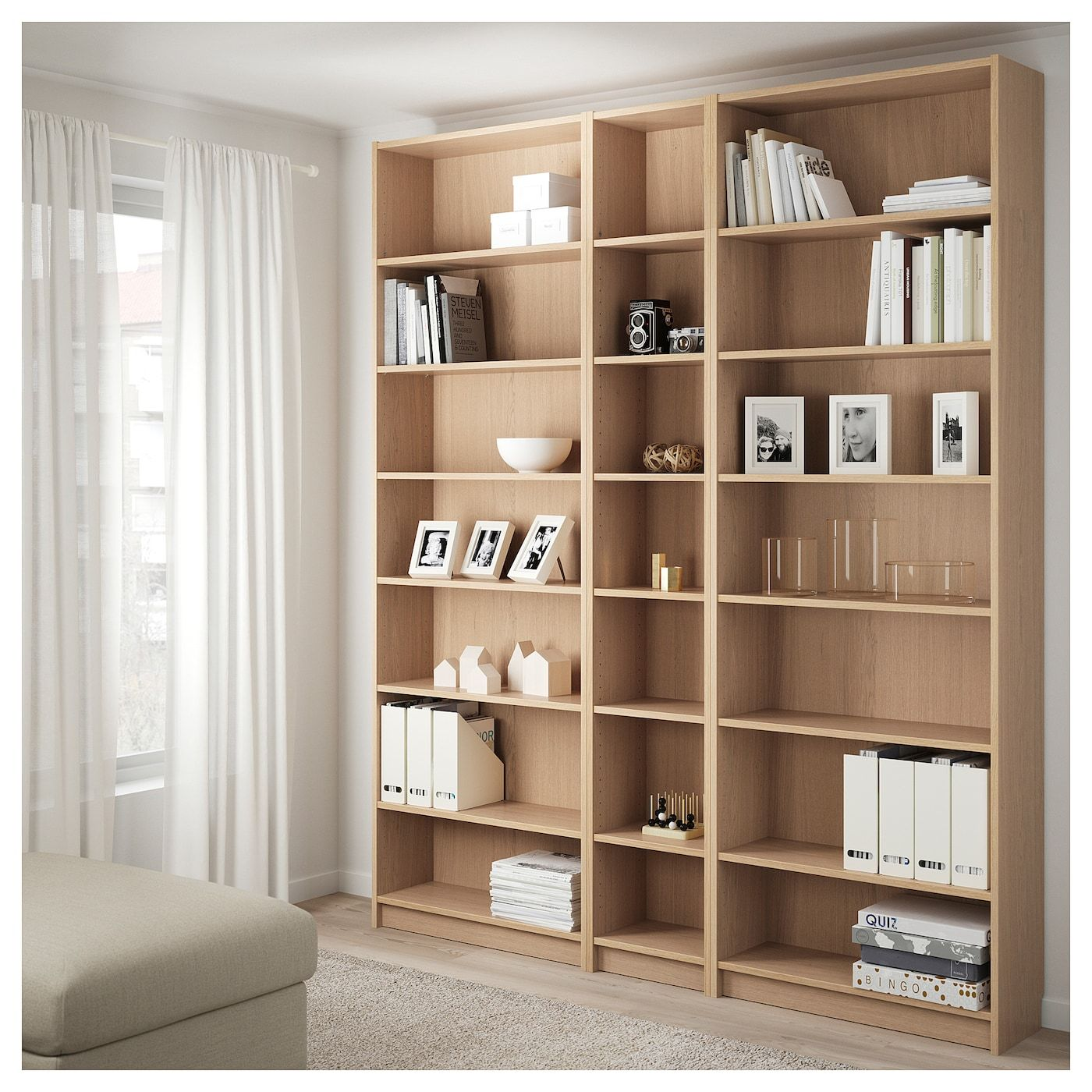 Billy Bibliotheque Avec Surmeubles Plaque Chene Blanchi 200x28x237 Cm Ikea Ikea Chene Blanchi Bibliotheque Ikea Billy