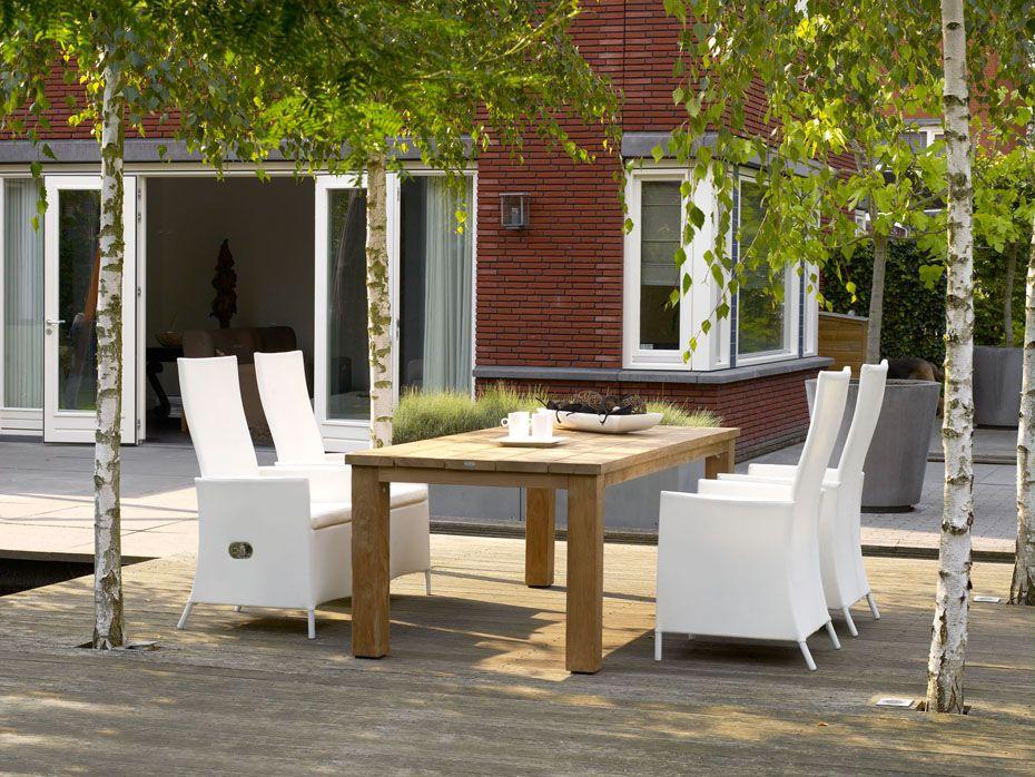 Teak Terrastafel Texas 220x100cm met Verstelbare Textilene Stoel Focus White - Alu Frame