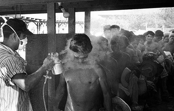 Mexican migrant workers sprayed with ddt at the border to Texas' 1953