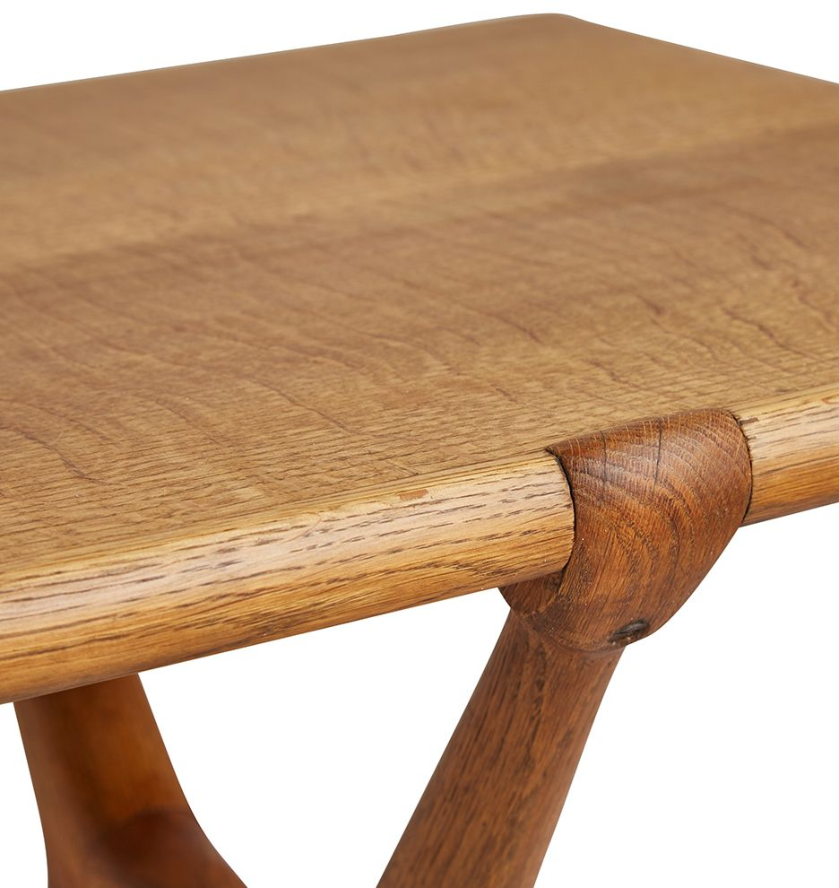 Swedish Mid Century Oak Coffee Table W Unusual X Legs