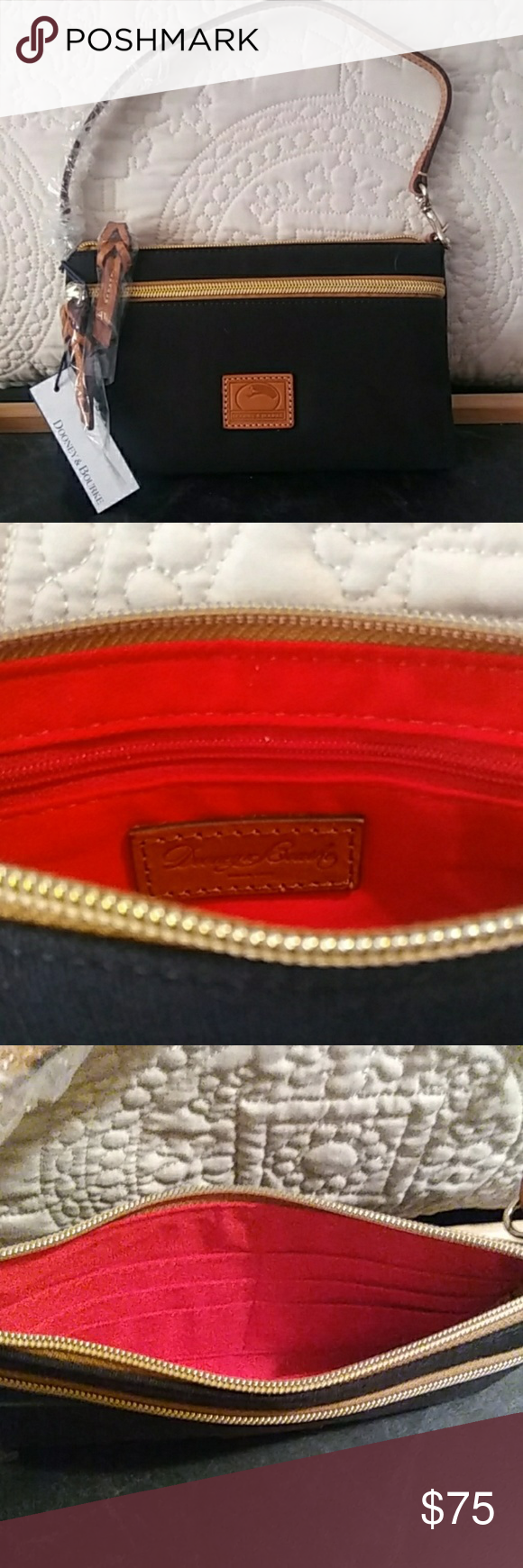Dooney & Bourke Arm Bag/Clutch NWT !  Dooney & Bourke Small Arm Bag/Clutch Black Fabric with Gold Hardware & Tan Leather Accents Red Fabric Inside 7 Strap Drop, 9W x 6H  Zipper Top with Front Zipper Pocket  Inside-Zipper Pocket & 6 Card Slots Dooney & Bourke Bags Clutches & Wristlets #zippertop