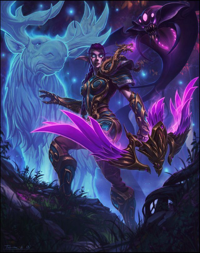 Night Elf Hunter With Pets By Todor Hristov Imaginaryazeroth World Of Warcraft Characters Lol League Of Legends Warcraft Art