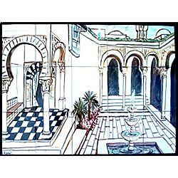 Mosaic 'Andalusia' 15-tile Ceramic Wall Mural