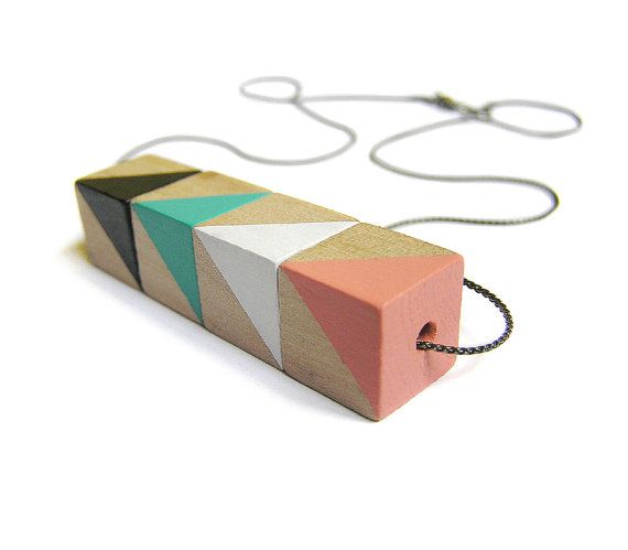 Necklace Circus · Hand-painted Birch Wood · Geometric Necklace · Geometric…