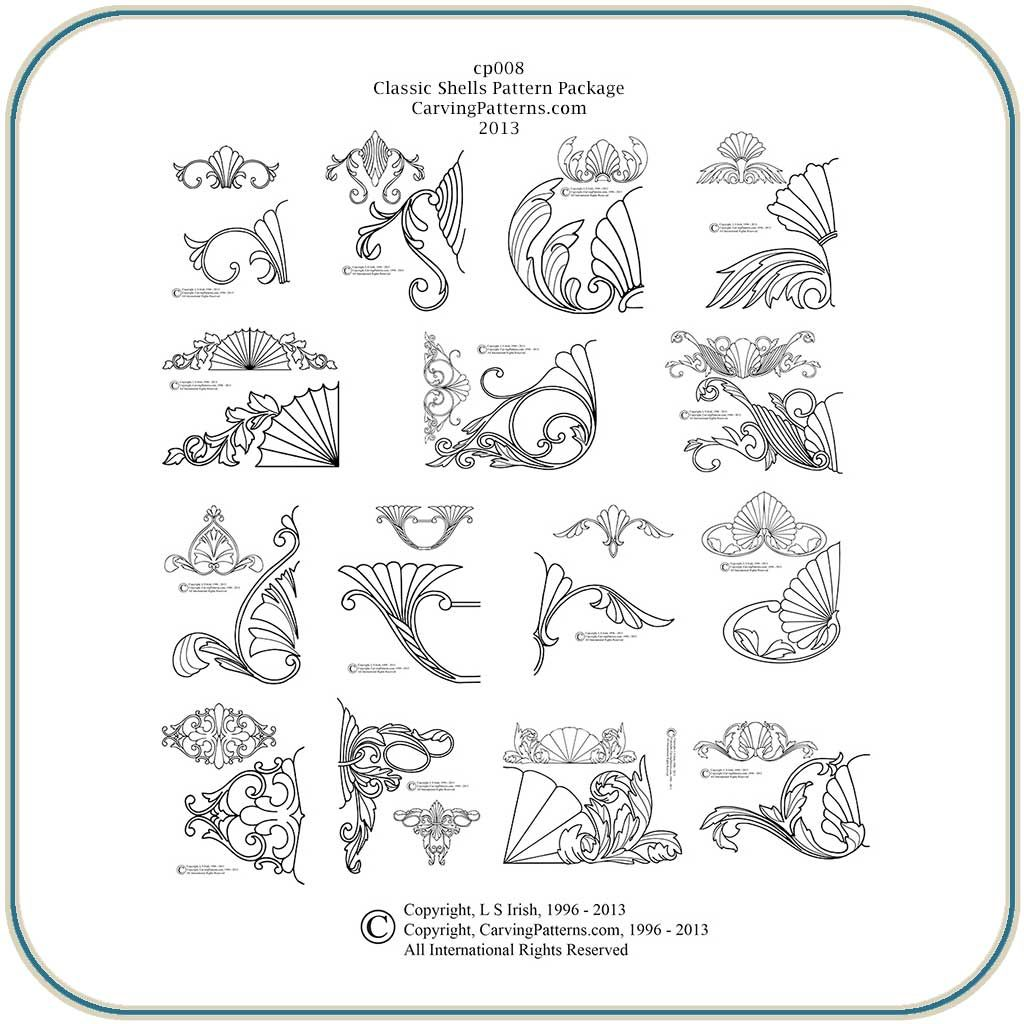 Classic shell collection wood carving patterns by l s