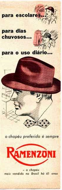 Propaganda dos Chapéus Ramenzoni nos anos 50  para crianças e adultos. 213b3e43284