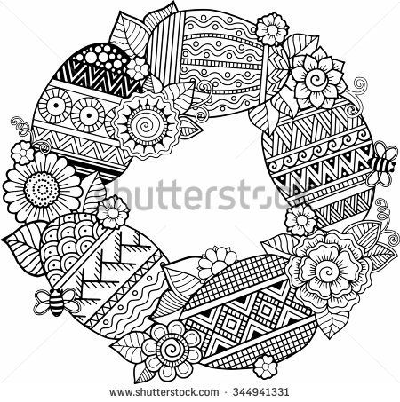 Hand draw vector rounder frame. Coloring book for adult