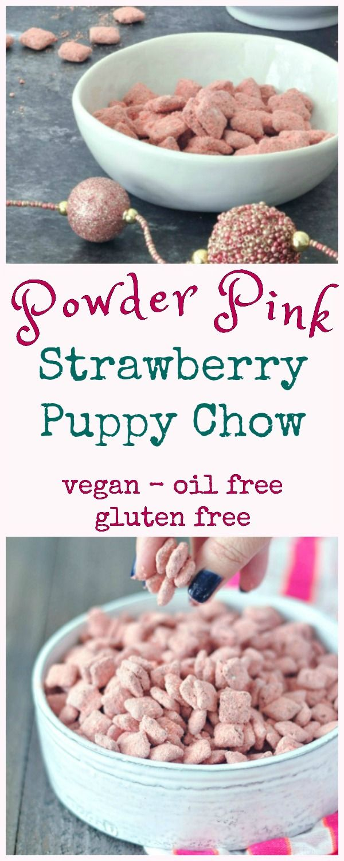 Powder Pink Strawberry Puppy Chow @spabettie #vegan #glutenfree #oilfree #valentines #easter #snack #dessert #pink #puppychow #muddybuddies