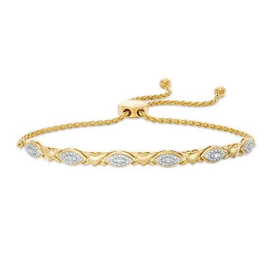 Zales 1/10 CT. T.w. Diamond Marquise and Heart Bolo Bracelet in Sterling Silver with 14K Gold Plate - 10.5 nx5X2g