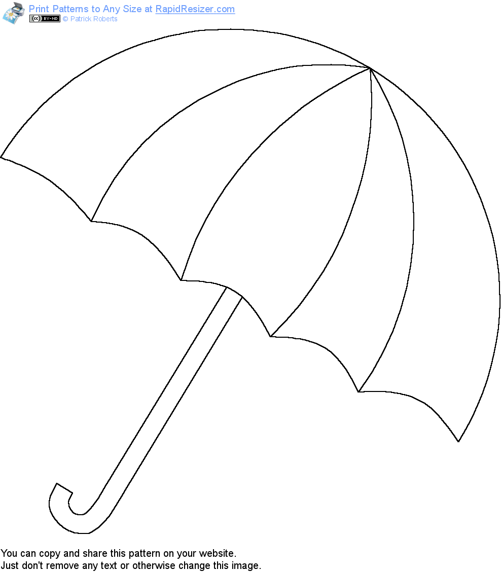 Free umbrella pattern get it and more free designs at for Printable umbrella template for preschool