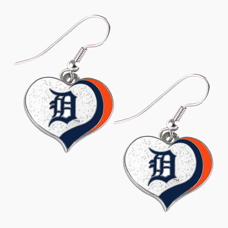a2d170a9948908 Detroit Tigers MLB Sports Team Logo Glitter Heart Earring Swirl Charm Set