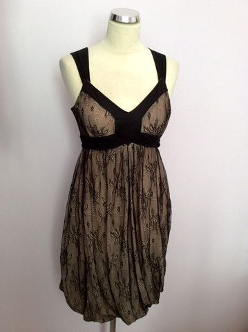 John Galliano Black Nude Lace Bubble Hem Dress Size 8 Whispers