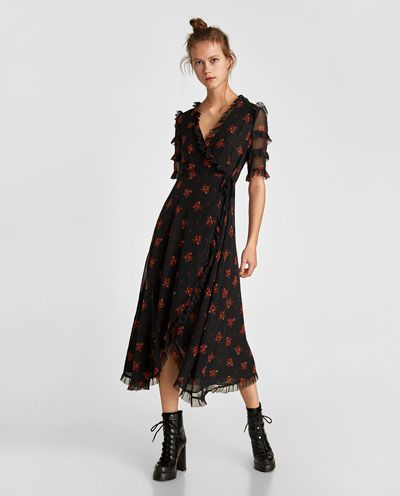 vestido cruzado gasa zara