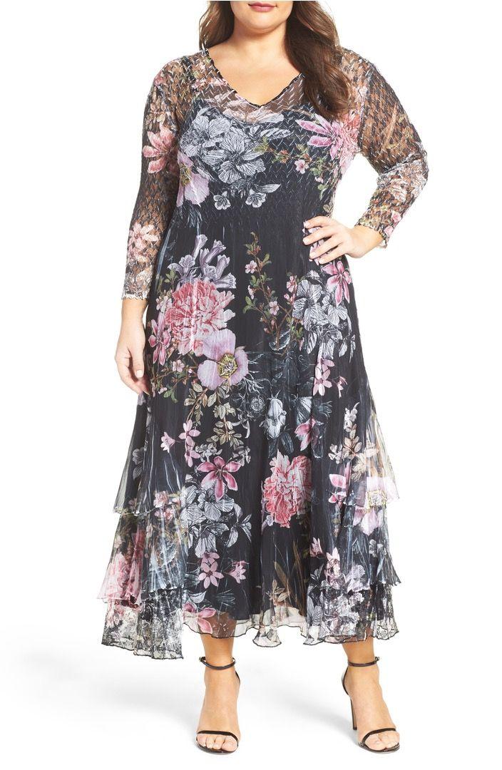 Komarov Print Chiffon Tiered A Line Dress Plus Size Plus Size