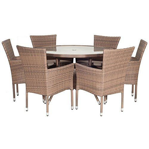 Garden Furniture 6 Seater Round auckland 6 seater round rattan weave dining set with cushions