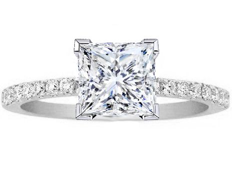 Princess Cut 1 ct Diamond Engagement Ring Pave Band in 14K White