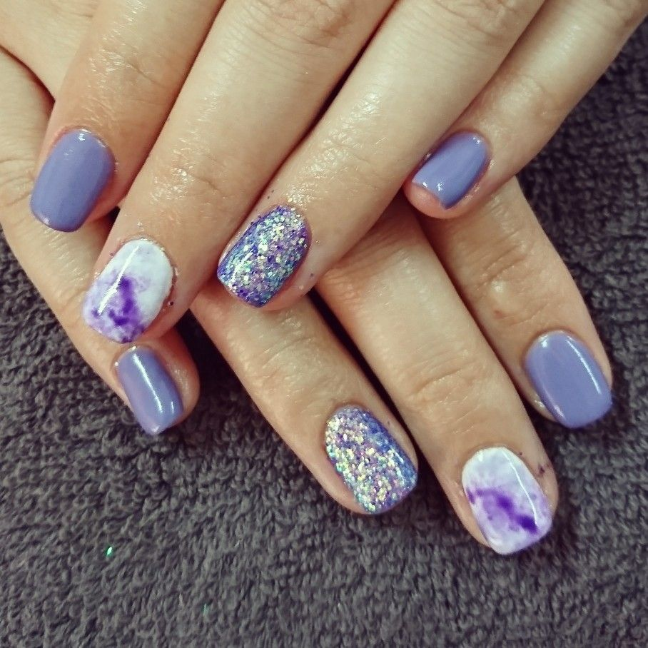 Purple nails with marble art and glitter | Romantique Nails ...