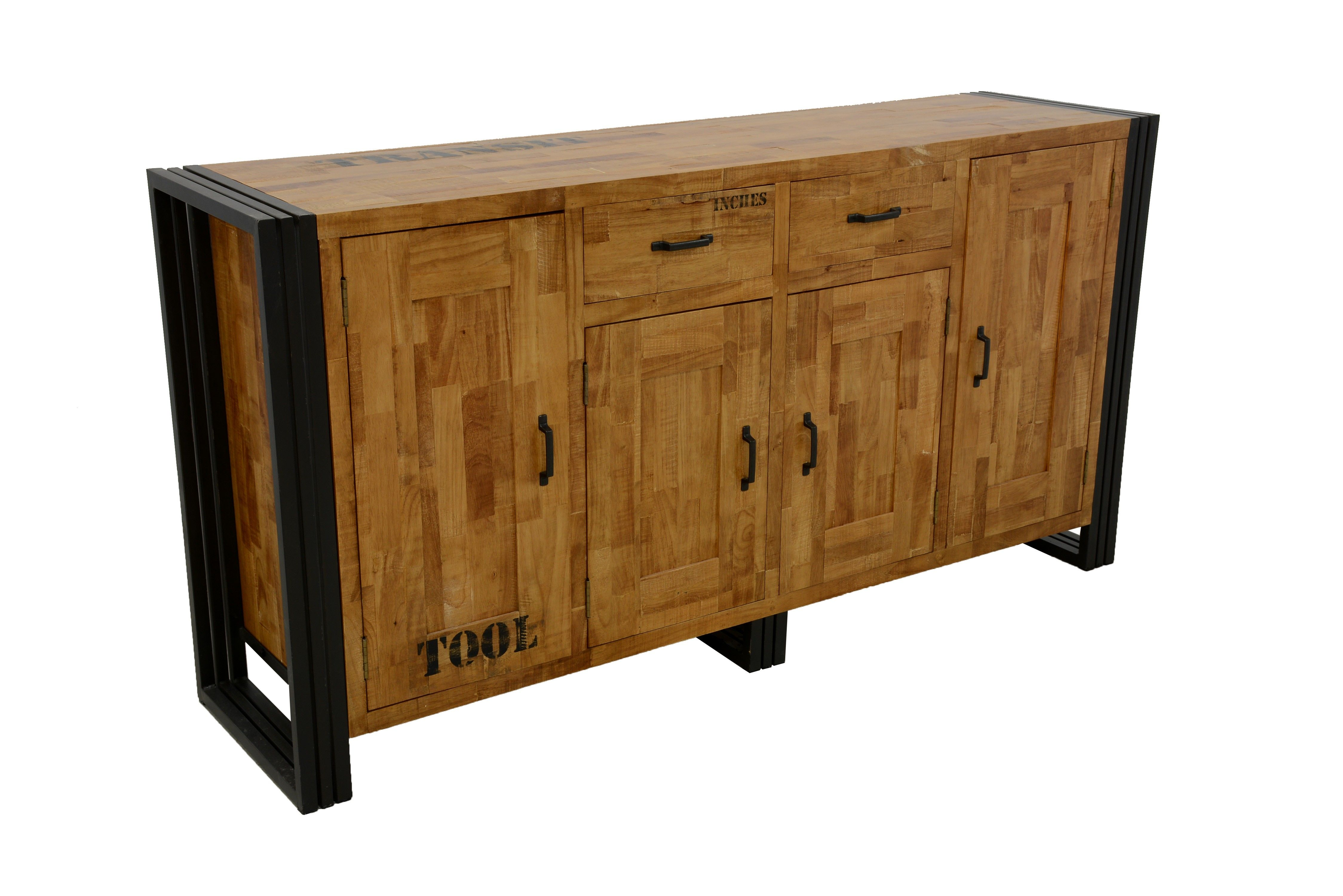 Buffet Enfilade Hevea Recycle Naturel Et Metal Noirci 4 Portes 2 Tiroirs 180x45x90cm Docker Buffet Enfilade Tiroir Buffet
