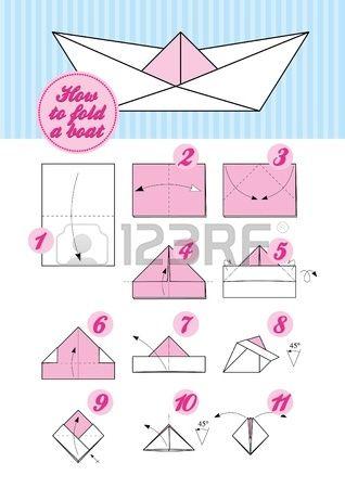 Steg för steg instruktion för vika papper Hur man gör en japansk origami traditionell båt Stockfoto