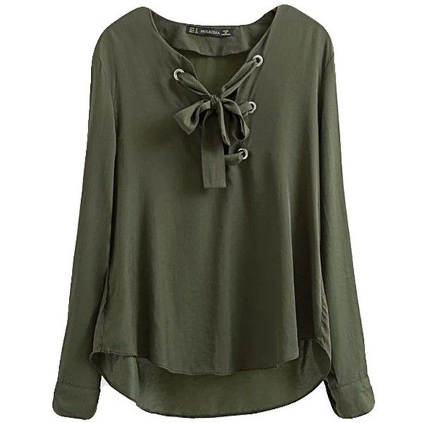 f8ec058702 Lace Up Army Green Loose Long Sleeve Women Shirt (44 BGN) ❤ liked on  Polyvore featuring tops