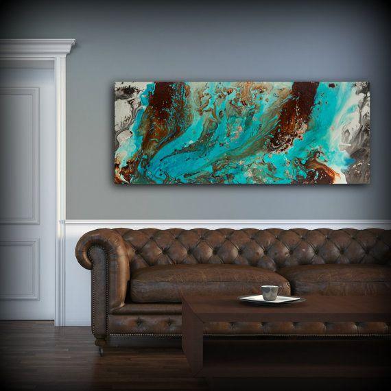 Aqua Print Blue And Brown Wall Art Decor Colourful Bohemian Art