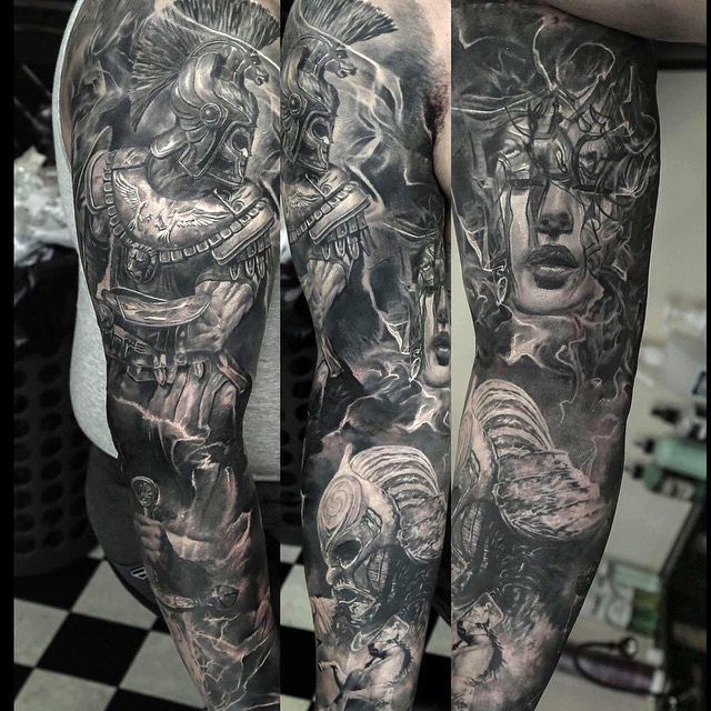 a detailed tattoo sleeve by artist domantas parvainis intenzei