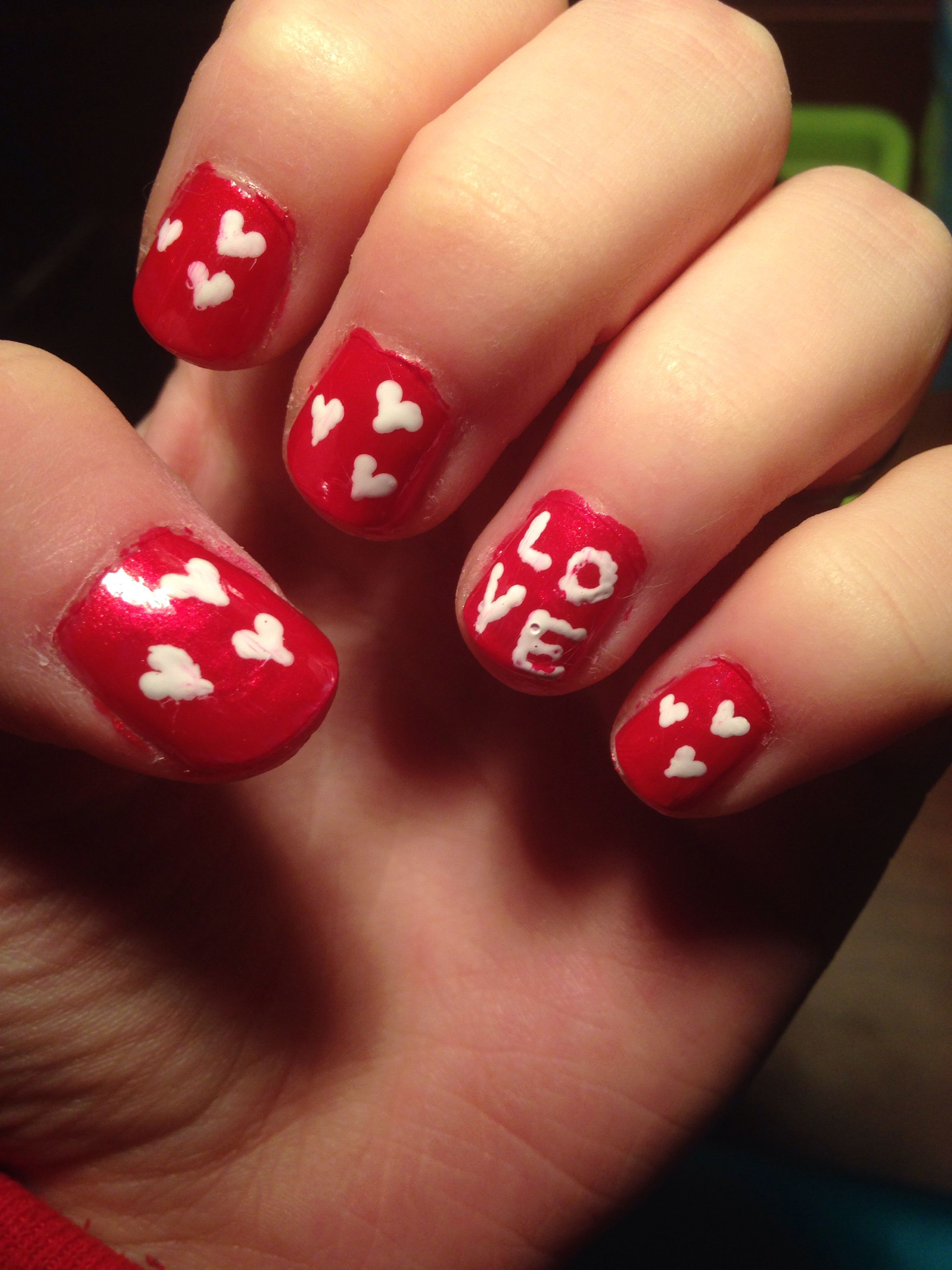 DIY Valentines Day Nails Little hearts and LOVE