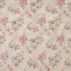 Red Green And Beige Pastel Floral Roses Upholstery Fabric By The