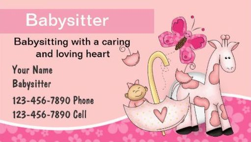 Girly Child Care And Baby Sitting Business Cards Babysitting Babysitting Jobs Business Cards Girly