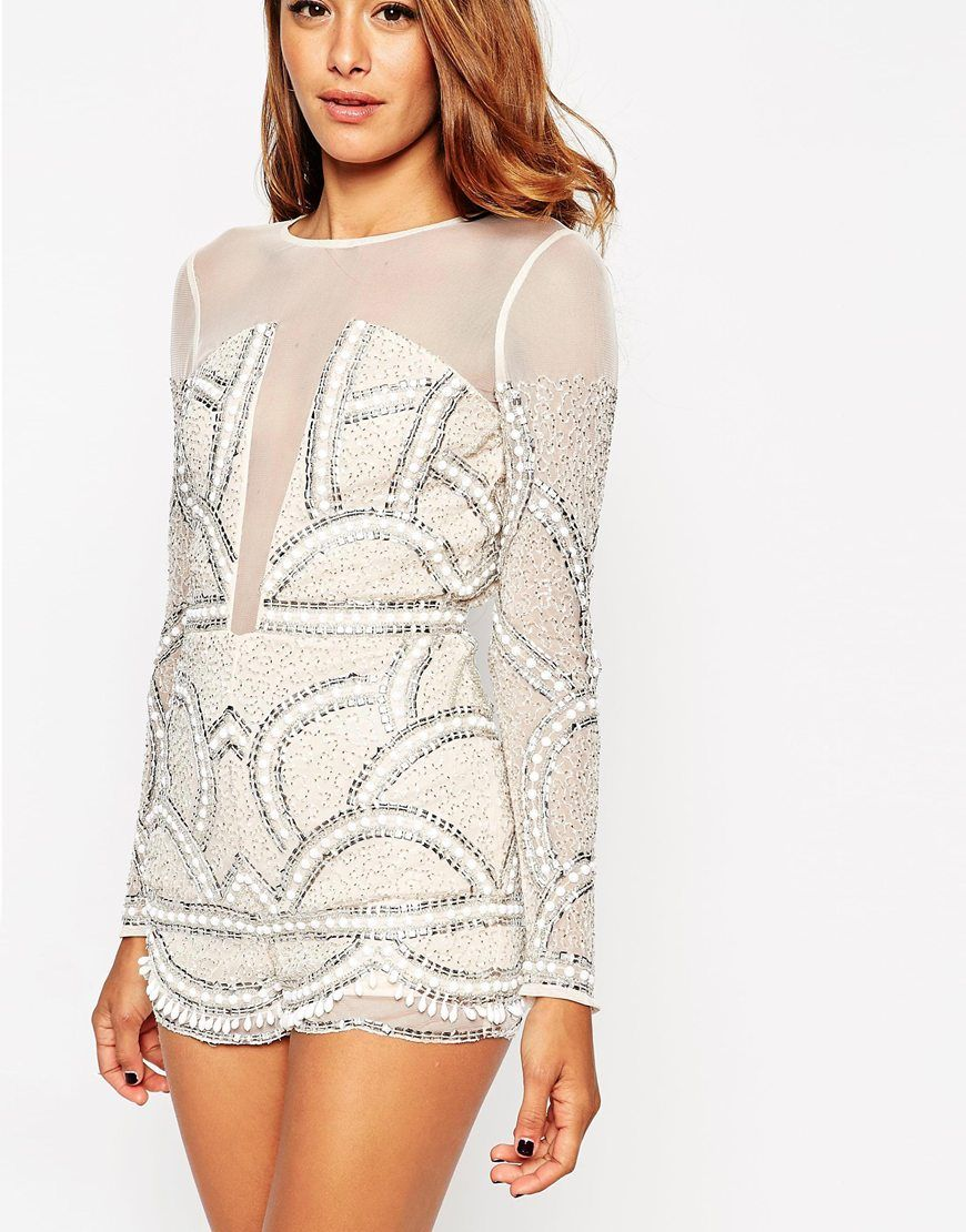 e78769a20ca Image 3 of ASOS Pretty Embellished Playsuit with Scalloped Edge ...