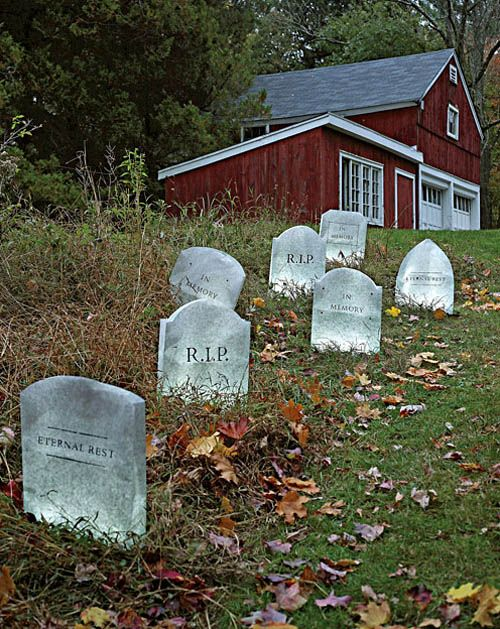 Gravestones made from paper bags! The best outdoor halloween