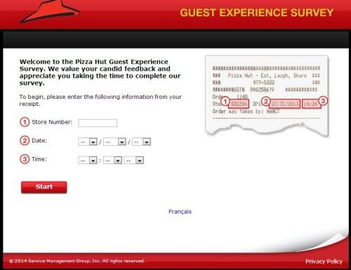 Pizza Hut Guest Feedback Survey WwwPizzahutlistensCa