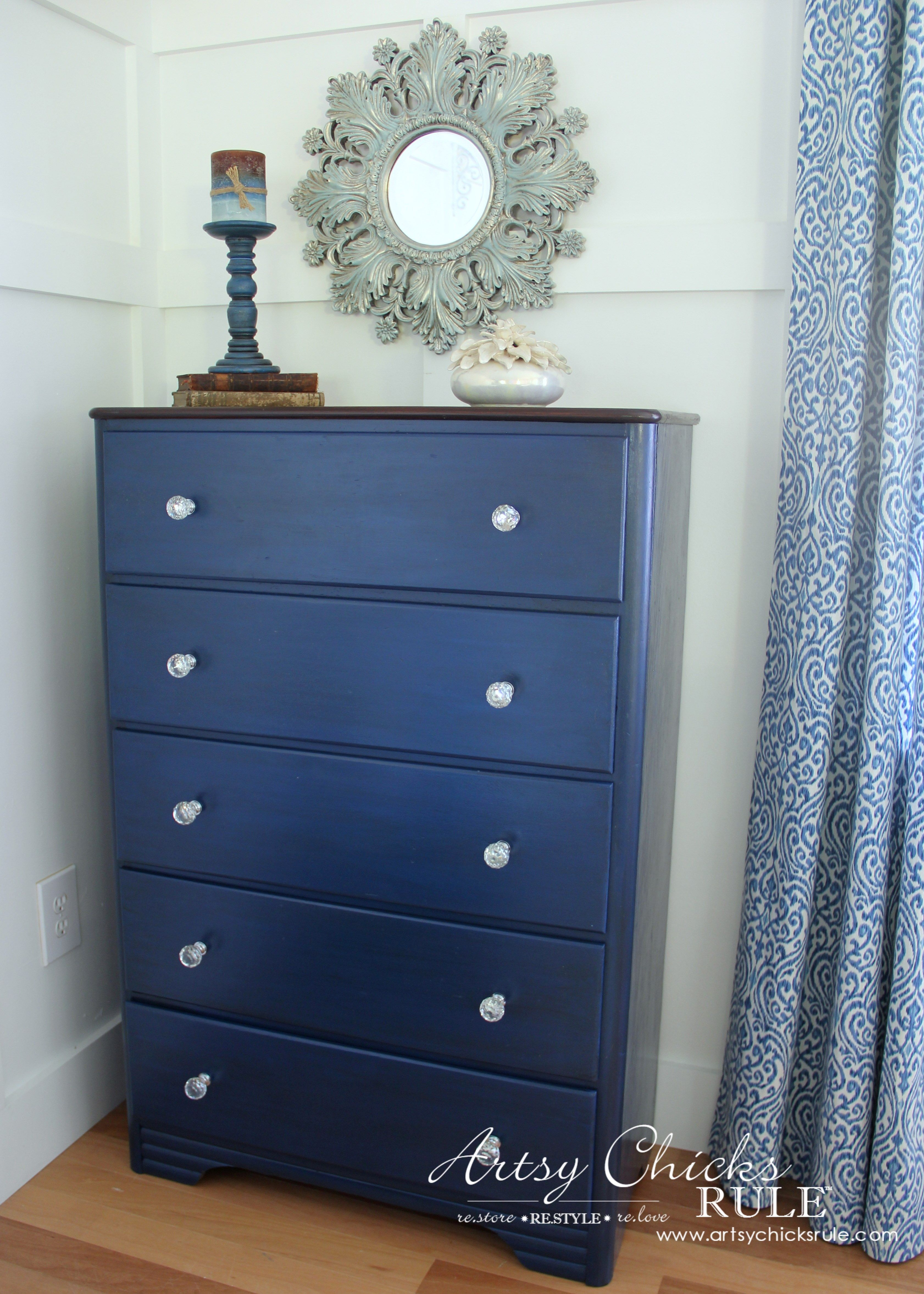 General Finishes Coastal Blue & Corinth Blue Milk Paint Chest